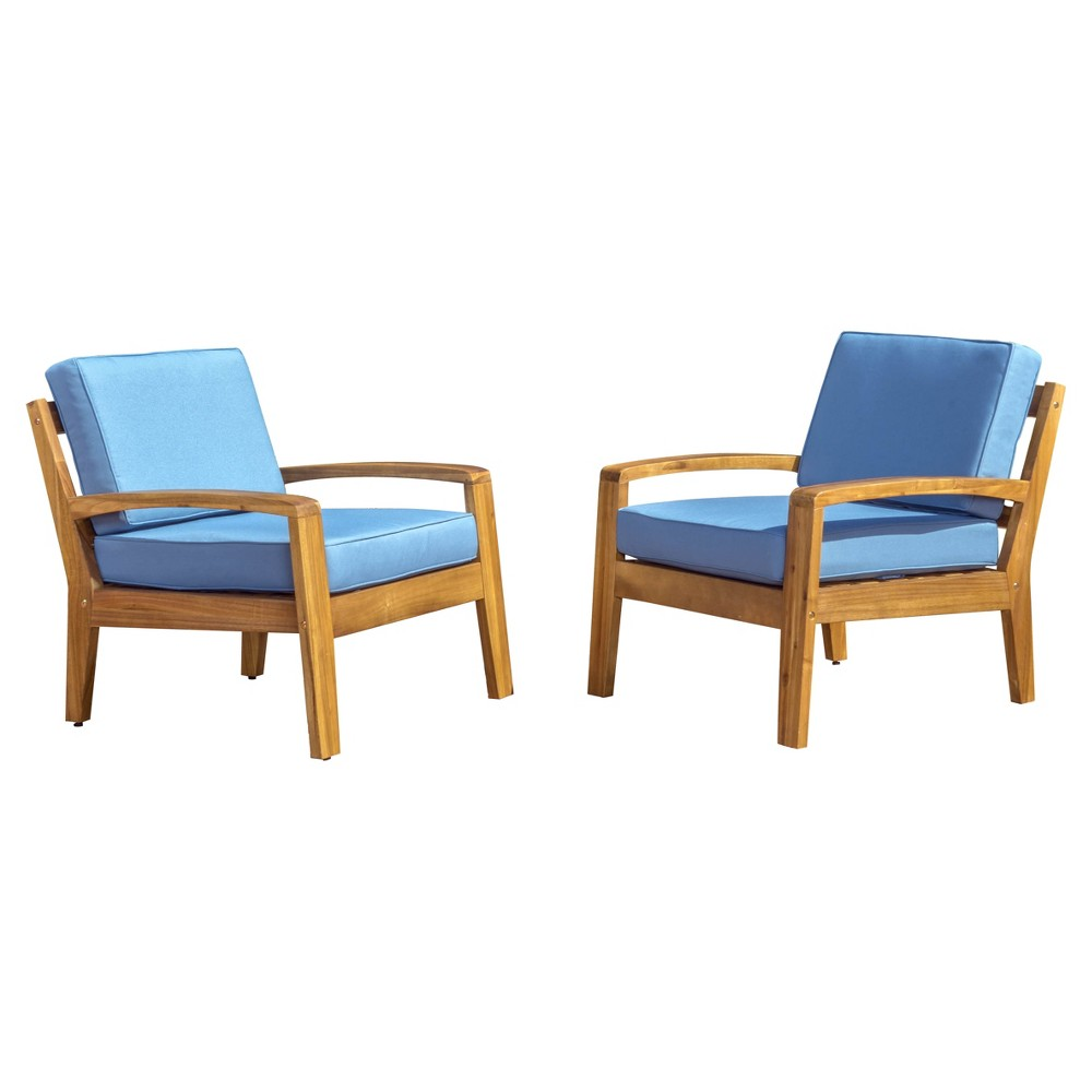 Grenada Set of 2 Wooden Club Chairs With Cushions - Blue - Christopher Knight Home
