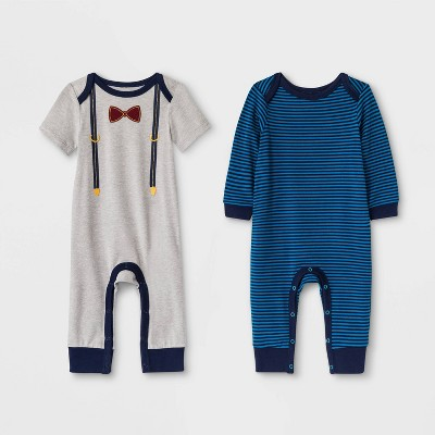 Baby Boys' 2pk Rompers - Cat & Jack™ Gray/Blue 0-3M