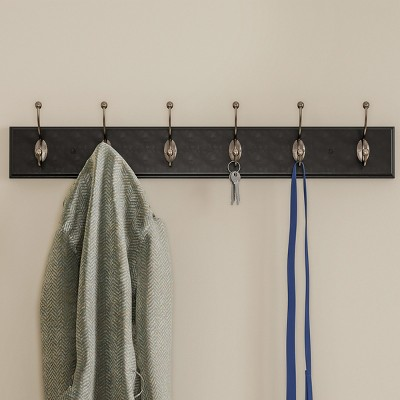 Wall Hook Rail-Mounted Hanging Rack with 6 Hooks-Entryway, Hallway, or Bedroom-Storage Organization for Coats, Towels, Bags by Hastings Home (Black)