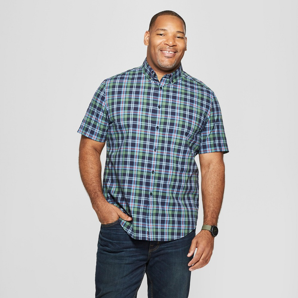 Men's Tall Plaid Standard Fit Short Sleeve Button-Down Shirt - Goodfellow & Co Cyber Blue LT