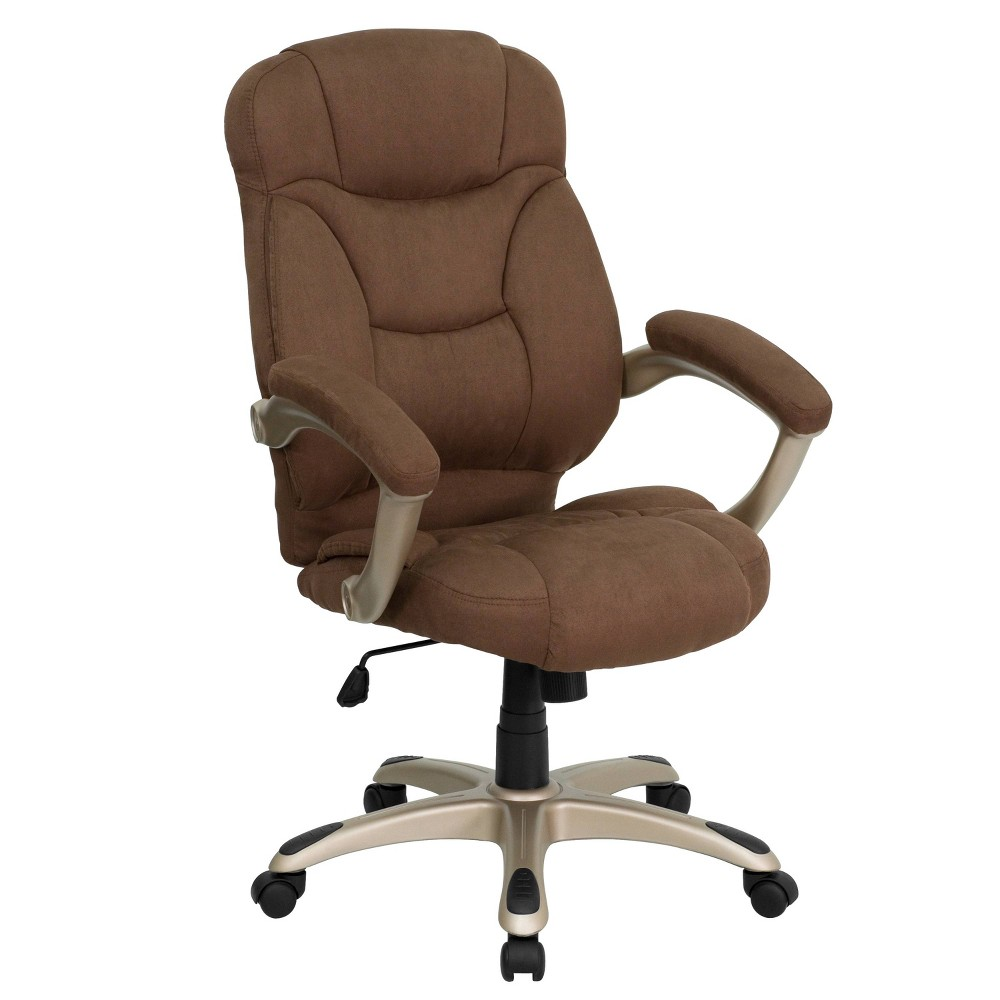 Contemporary Executive Swivel Office Chair Brown Microfiber - Flash Furniture