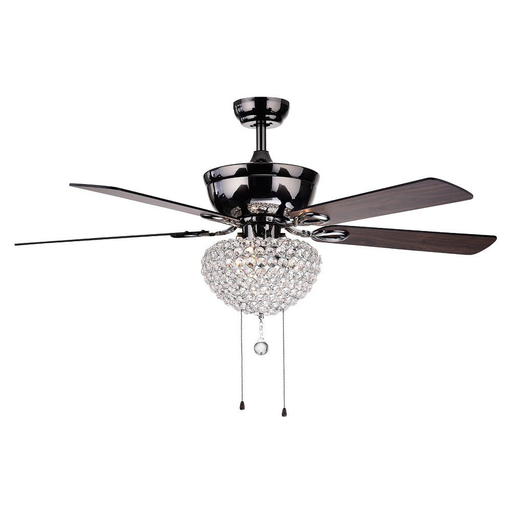 Warehouse Of Tiffany - 25 X 16 X 14 Inch Almost Black Lighted Ceiling Fans