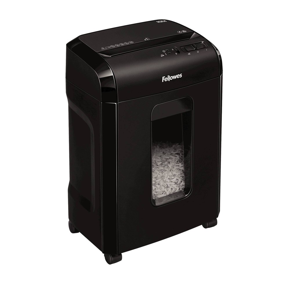 Fellowes Paper Micro-Cut Shredder - Black The 10M shreds 10 sheets per pass into 7/64 x 25/64  micro-cut particles (Security Level P-4). with a reduced shred size, the 5-gallon bin requires less frequent emptying than cross-cut shredders. The 10M shreds for up to 7 minutes before a 15-minute cool down period is needed. The SafetyLock disables shredder for added safety protection making it ideal for home use. The 10M offers a higher security level for personal identity theft protection. - 1 year product warranty and 5 year cutter warranty - For personal use Color: Black.
