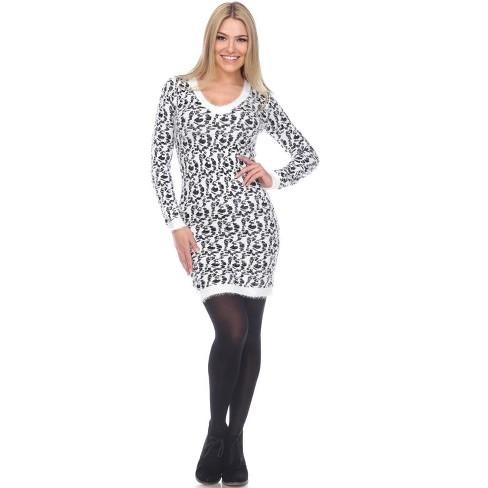Women's Angora Leopard Print Sweater Dress - White Mark - image 1 of 4