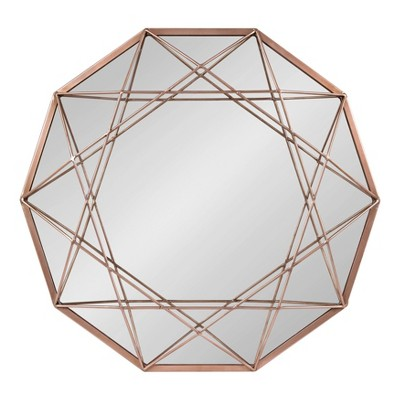 """25"""" Keyleigh Metal Accent Wall Mirror Rose Gold - Kate and Laurel"""