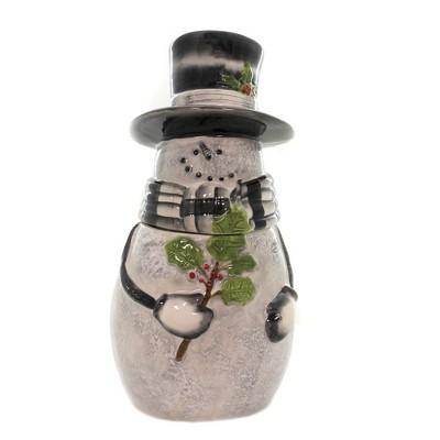 "Tabletop 13.5"" Sketchbook Snowman Cookie Jar Christmas Holly Top Hat Park Designs  -  Food Storage Containers"