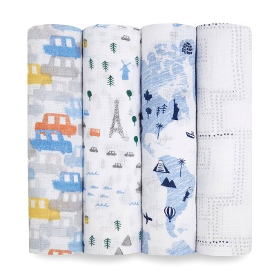 aden + anais Swaddles Little Big World - 4pk