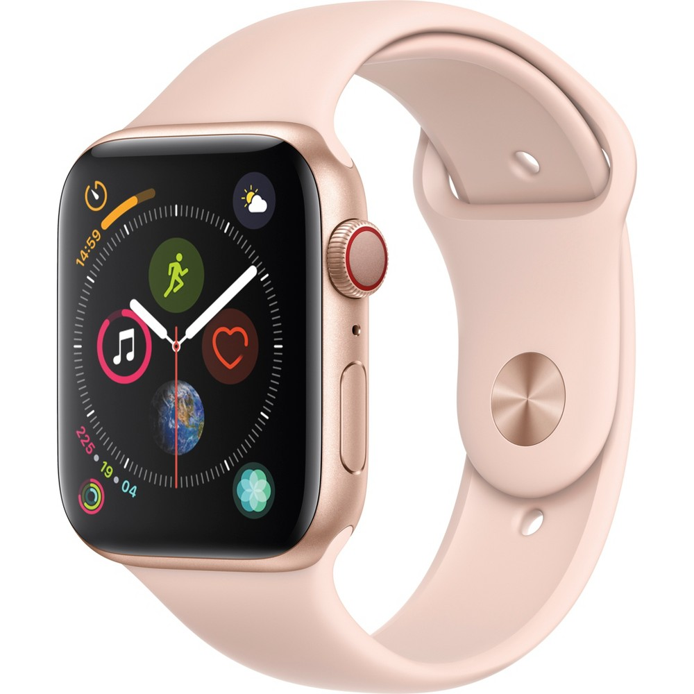 Apple Watch Series 4 Gps & Cellular 44mm Gold Aluminum Case with Sport Band - Pink Sand, Pink Sand Sport Band Fundamentally redesigned and reengineered. The largest Apple Watch display yet. Built-in electrical heart sensor. New Digital Crown with haptic feedback. Low and high heart rate notifications. Fall detection and Emergency Sos. New Breathe watch faces. Automatic workout detection. New yoga and hiking workouts. Advanced features for runners like cadence and pace alerts. New head-to-head competitions. Activity sharing with friends. Personalized coaching. Monthly challenges and achievement awards. Built-in cellular lets you use Walkie-Talkie, make phone calls, and send messages. Stream Apple Music and Apple Podcasts. And use Siri in all-new ways—even while you're away from your phone. With Apple Watch Series 4, you can do it all with just your watch. Selection may vary; see a sales associate for available models. Apple Watch Series 4 (Gps + Cellular) requires an iPhone 6 or later with iOS 12 or later. Wireless service plan required for cellular service. Apple Watch and iPhone service provider must be the same. Not all service providers support enterprise accounts; check with your employer and service provider. Roaming is not available outside your carrier network coverage area. Contact your service provider for more details. Apple Music requires a subscription. Compared with the previous generation. Iso standard 22810:2010. Appropriate for shallow-water activities like swimming. Submersion below shallow depth and high-velocity water activities not recommended. Color: Pink Sand Sport Band.