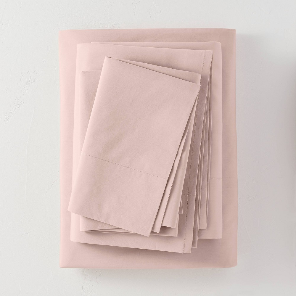 Queen Washed Supima Percale Solid Sheet Set Blush Casaluna 8482