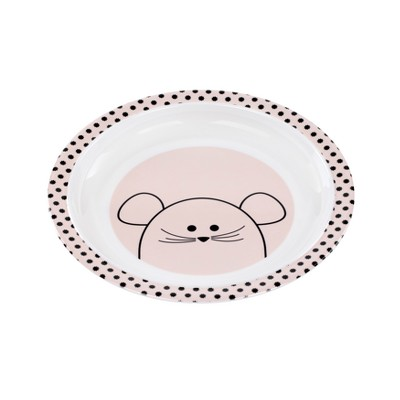 Lassig Little Chums Mouse Plate - White/Pink