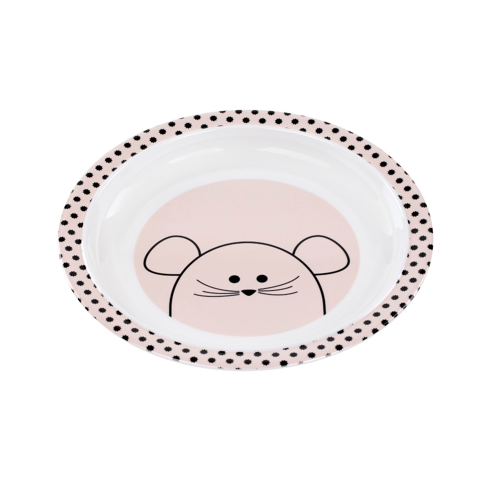 Image of Lassig Little Chums Mouse Plate - White/Pink