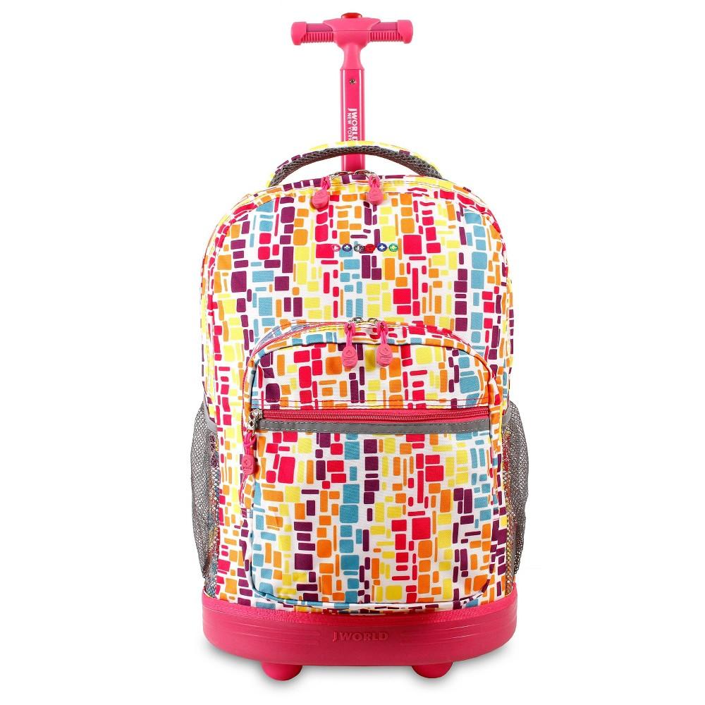 J World 18 Sunrise Rolling Backpack Neon