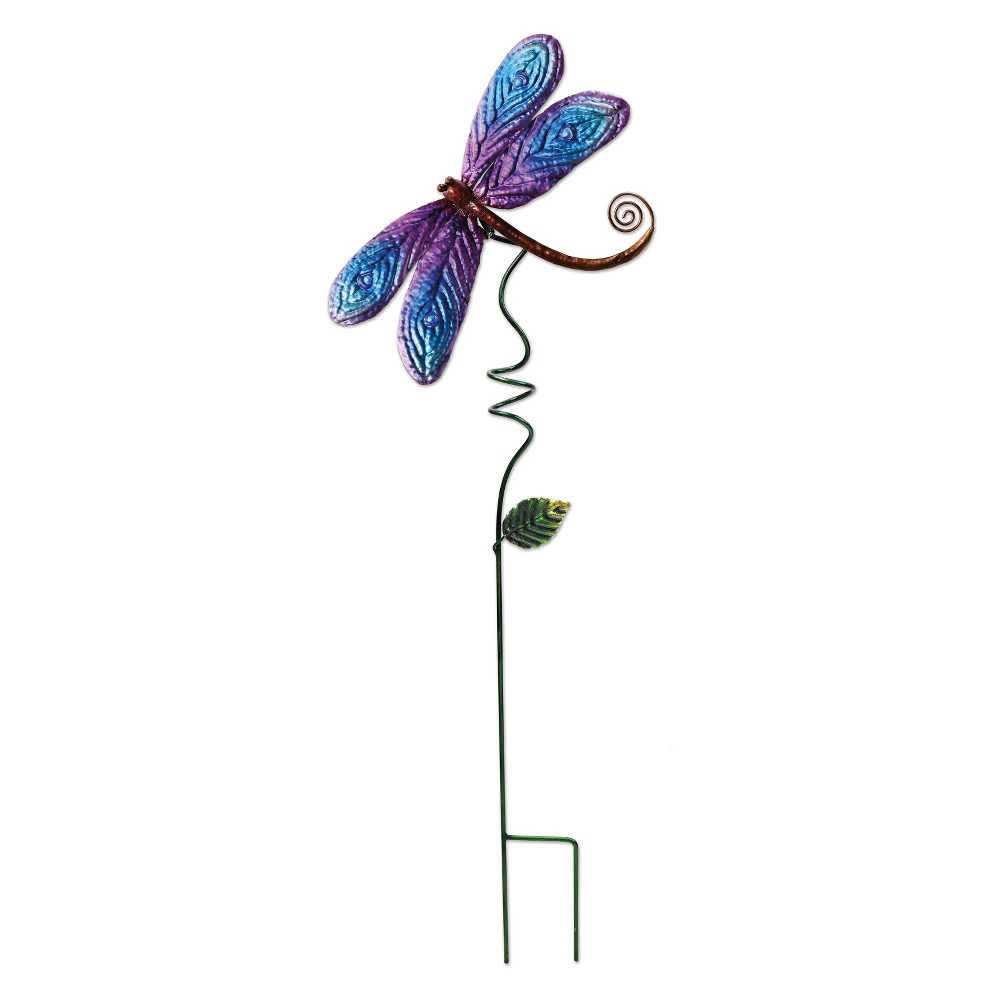 28H Tall Metal Dragonfly Stake - Green and Blue - Sunset Vista Design, Multi-Colored