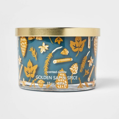 15oz Lidded Glass Jar Leaf and Spice Print 3-Wick Golden Sap and Spice Candle - Opalhouse™