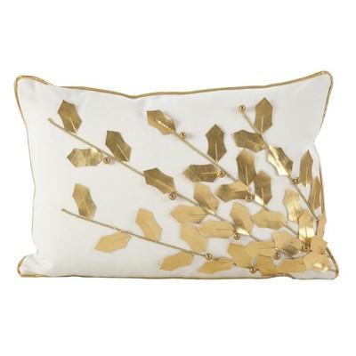 Metallic Poinsettia Branch Design Holiday Cotton Throw Pillow Gold - Saro Lifestyle