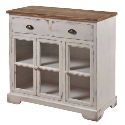 3 Door/2 Drawer Shabby Chic Window Pane Cabinet Antique White/Natural - StyleCraft