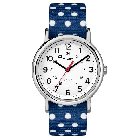 Timex Weekender™ Slip Thru Reversible Polka Dot Nylon Strap Watch - Navy/White TW2P66000JT - image 1 of 1
