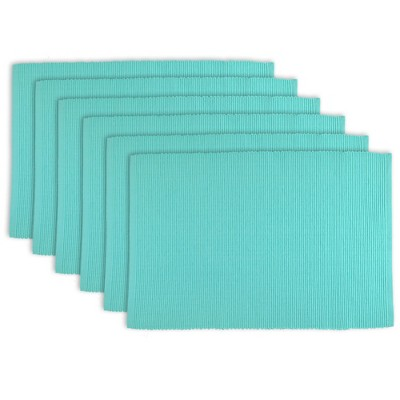 Set of 6 Wine Ribbed Placemat Aqua - Design Imports