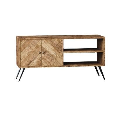 Be Mindful Rustic Farmhouse Mid Century Fusion 2 Shelf Mango Wood Top & Iron Hairpin Legs Chevron Pattern TV Console Cabinet Entertainment Center