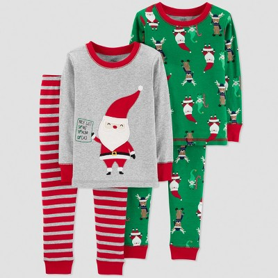 Baby Boys' 4pc Santa's List Pajama Set - Just One You® made by carter's Gray 9M