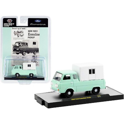 1965 Ford Econoline Pickup Truck with Camper Shell Mint Green and White Ltd Ed to 4400 pcs 1/64 Diecast Model Car by M2 Machines