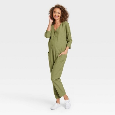 The Nines by HATCH™ Maternity 3/4 Sleeve Button-Front Jumpsuit Olive Green
