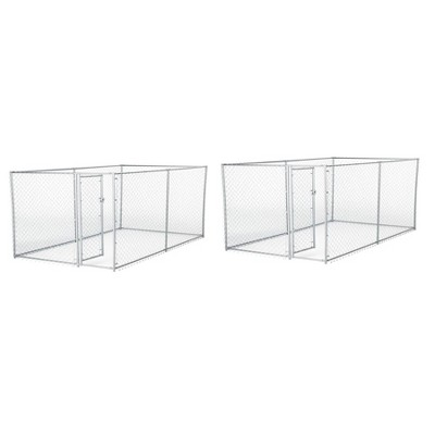 Lucky Dog 10 x 5 x 4 Foot Heavy Duty Outdoor Chain Link Kennel Enclosure (2 Pk)