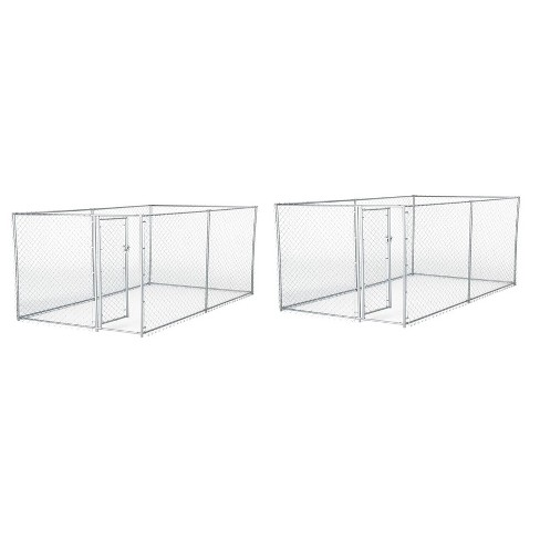 Lucky Dog 10 x 5 x 4 Foot Heavy Duty Outdoor Chain Link Kennel Enclosure (2 Pk) - image 1 of 4