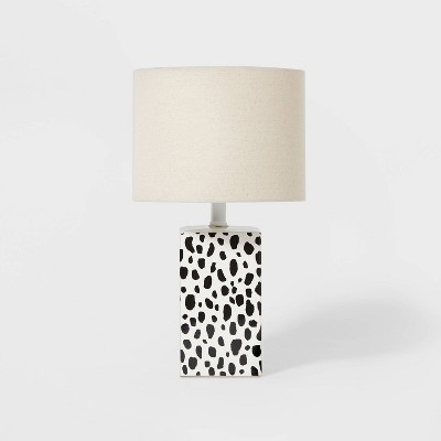 Leopard Base Lamp with Cylinder Shade Black/White - Pillowfort™