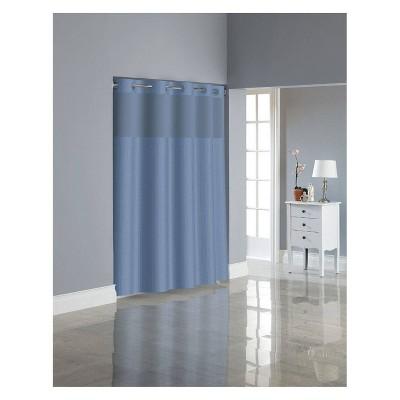 Herringbone Shower Curtain with Liner Blue - Hookless