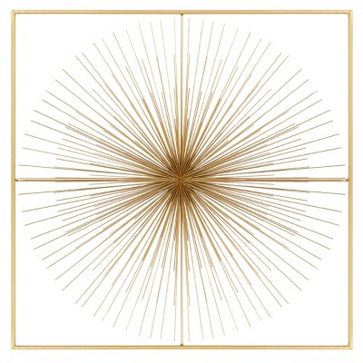 "36"" x 36"" Square Metal Wall Decor with Starburst Center Gold - Olivia & May"