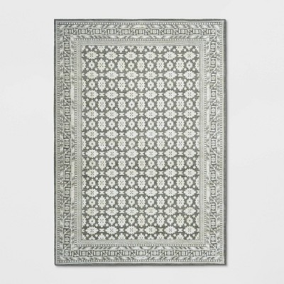 7'X10' Indoor/Outdoor Floral Woven Area Rug Gray - Threshold™
