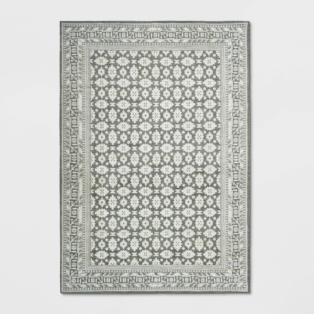 7'X10' Indoor/Outdoor Floral Woven Area Rug Gray - Threshold