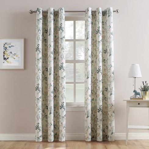 Hariette Floral Print Casual Textured Grommet Curtain Panel Blue - No. 918 - image 1 of 4