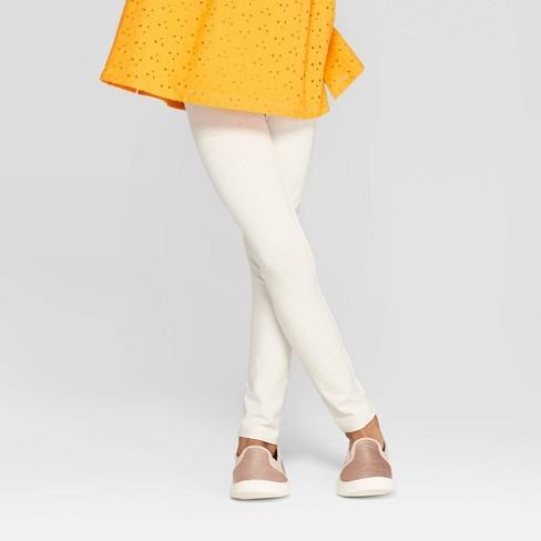 Girls' Sparkle Leggings - Cat & Jack™ Cream - image 1 of 3