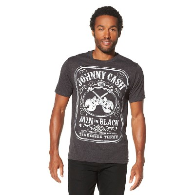 Men's Johnny Cash Man In Black Short Sleeve Graphic T-Shirt - Charcoal Heather