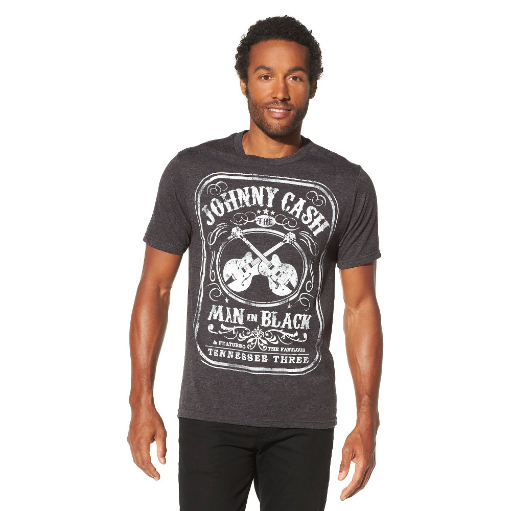 Image of Men's Johnny Cash Man In Black Short Sleeve Graphic T-Shirt - Charcoal Heather 2XL, Men's, Gray