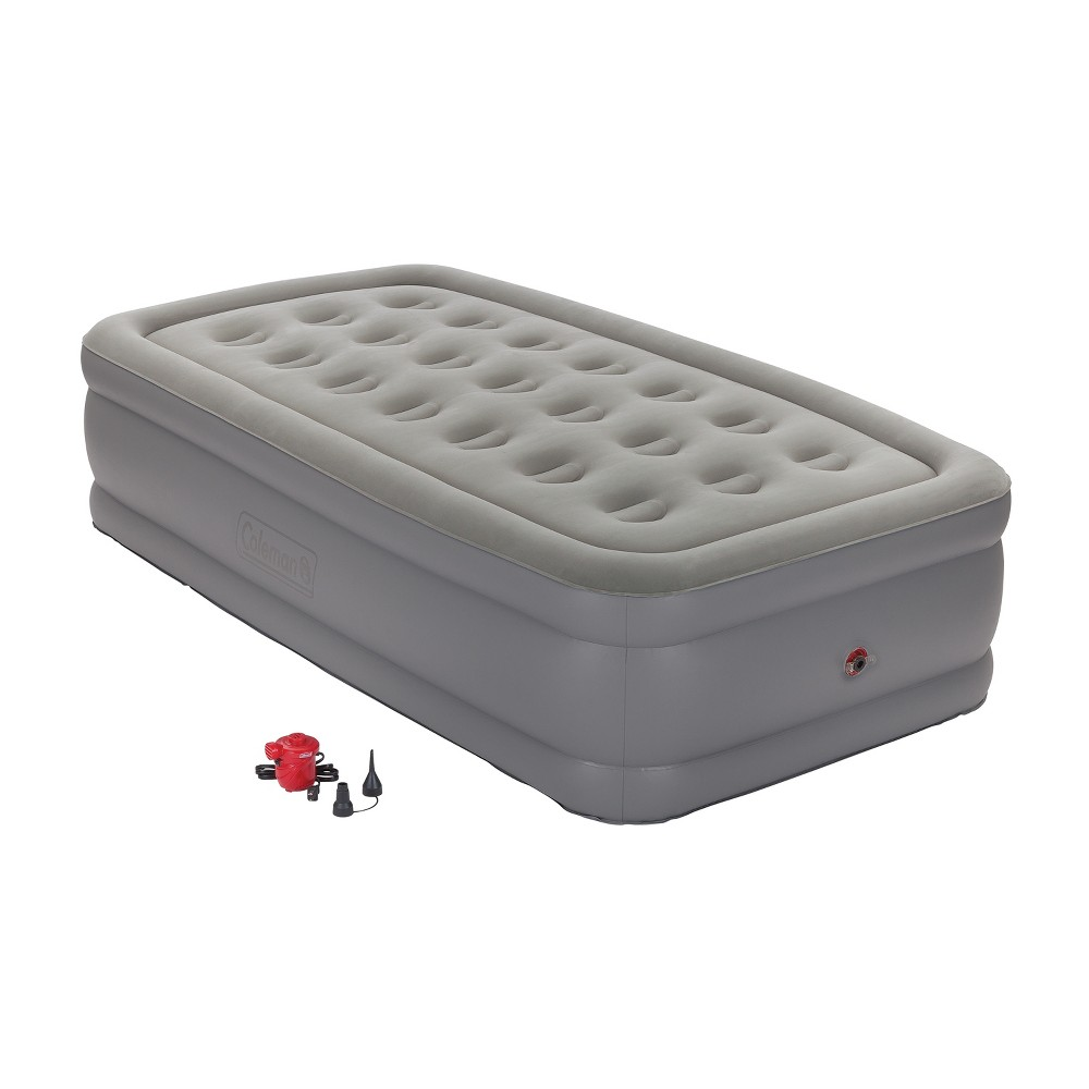 Coleman GuestRest Double High Airbed with External Pump Twin - Red/Gray Offer guests a comfortable night's sleep with the Coleman GuestRest Plus Double-High Airbed with Pump, Twin. This portable air mattress features an antimicrobial-treated soft plush top that resists odor, mold, and fungus. It comes with a pump for easy inflation. Color: Gray. Gender: Unisex.