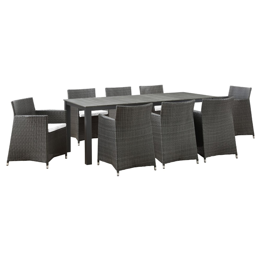 Junction 9pc Rectangle All-Weather Wicker Patio Dining Set - Brown/White - Modway