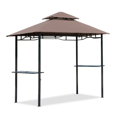 Outsunny 8' Patio BBQ Grill Gazebo Canopy with 2 Tier Flame Retardant Cover Large Storage Work Platform and Stylish Utility