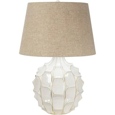 Possini Euro Design Mid Century Modern Table Lamp Ceramic White Glaze Light Brown Linen Drum Shade for Living Room Family Bedroom