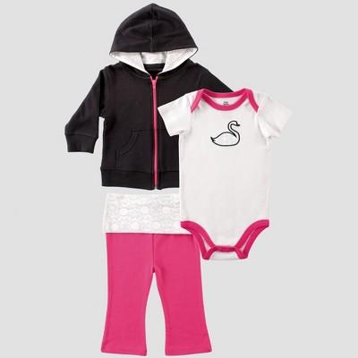 Yoga Sprout Baby Girls' Hoodie, Bodysuit & Pants Set , Swan - Black 0-3M
