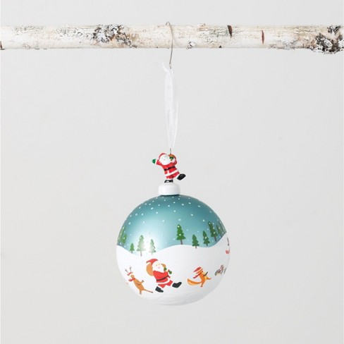Sullivans Santa And Reindeer Ball Ornament 5 25 H White Target