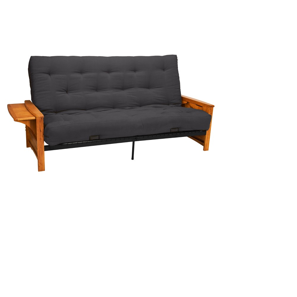 8 Brooklyn Cotton/Foam Futon Sofa Sleeper Oak Wood Finish Slate (Grey) - Epic Furnishings