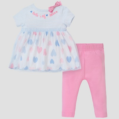 Gerber® Baby Girls' 2pc Hearts Tunic and Leggings Set - Pink/Blue 0-3M