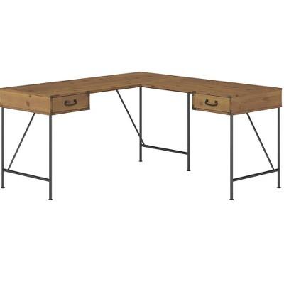 Bush Furniture Ironworks 60 L-Shaped Desk Vintage Golden Pine KI50112-03