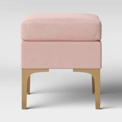 Joslyn Brass Leg Ottoman Blush Velvet - Project 62™