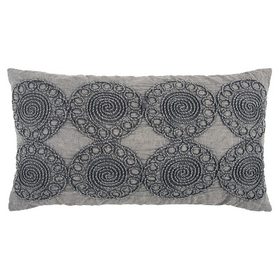 """14""""x26"""" Medallion Polyester Filled Pillow Gray - Rizzy Home"""
