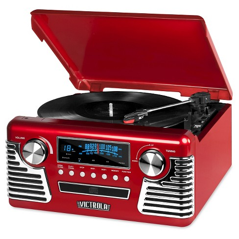 Victrola Retro Record Player  Stereo with Bluetooth and USB Digital Encoding, Red - image 1 of 1