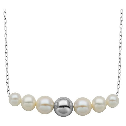 "Sterling Silver Genuine White Pearl and High Polish Ball Necklace with 18"" Chain - image 1 of 1"